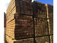 """Wooden/Timber Tanalised Railway Sleepers 8""""x 4""""X 2.4M •New•🌲"""