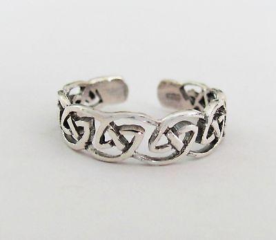 Sterling Silver Celtic soft fit size medium-large adjustable toe ring