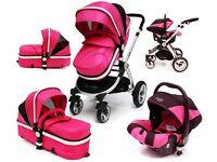 Safe System PINK Baby Pram Travel system 3 in 1