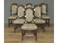 Set Of 6 Six Antique Victorian Carved Oak Dining Kitchen Upholstered Chairs