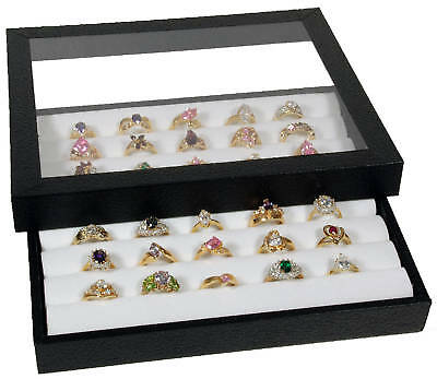 Ring Display Case Acrylic Top Tray Jewelry White Insert