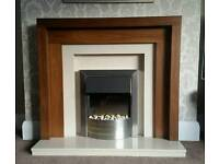 Electric Fire and Walnut effect Surround