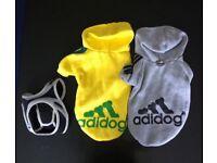2x Adidog, Dog hoddie sand harness