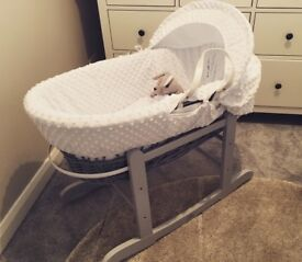 Moses basket and rocking stand only used twice