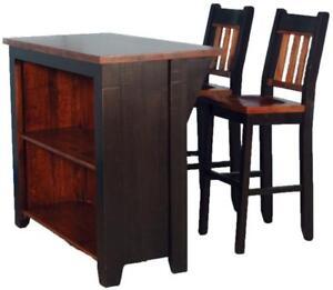 Amish Mennonite Handcrafted Solid Wood Kitchen Island Chairs Bar Stool Kits for DIY Home Renovation Project