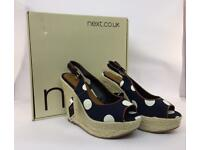 Next Ladies Spotted Wedge Sandals Size 5