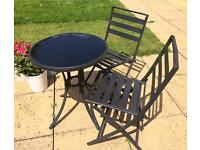 Sold - Bistro set (black metal with glass topped table)