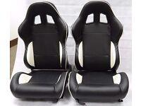 Pair of Black PU Leather Sport Seats - Bucket Seat / Reclining Seats - Racing Car Seats - Runners