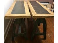 x2 beautiful vintage industrial tables / sideboards