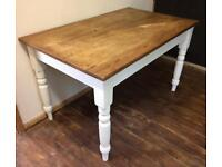 COUNTRY FARMHOUSE PINE WOOD DINING TABLE CREAM PAINTED LEGS WAXED TOP SHABBY CHIC