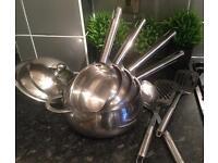 Stackable saucepans, frying pans and utensils