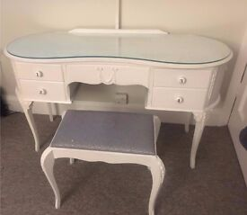Shabby Chic French Style Antique Dressing Table with Stool