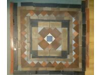 Victorian Minton tiled floor, ready to refit.