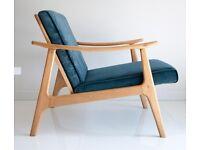 SALE SALE Danish Mid Century Lounge Armchair 1960's Design Velvet Vintage