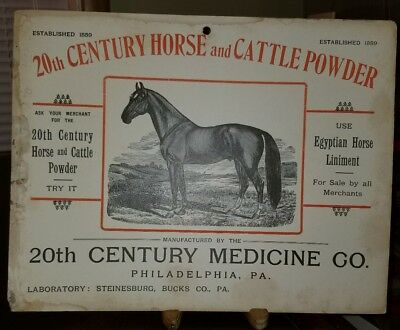 RARE 1900 BUCKS CO. PA 20TH CENTURY HORSE AND CATTLE POWDER SIGN