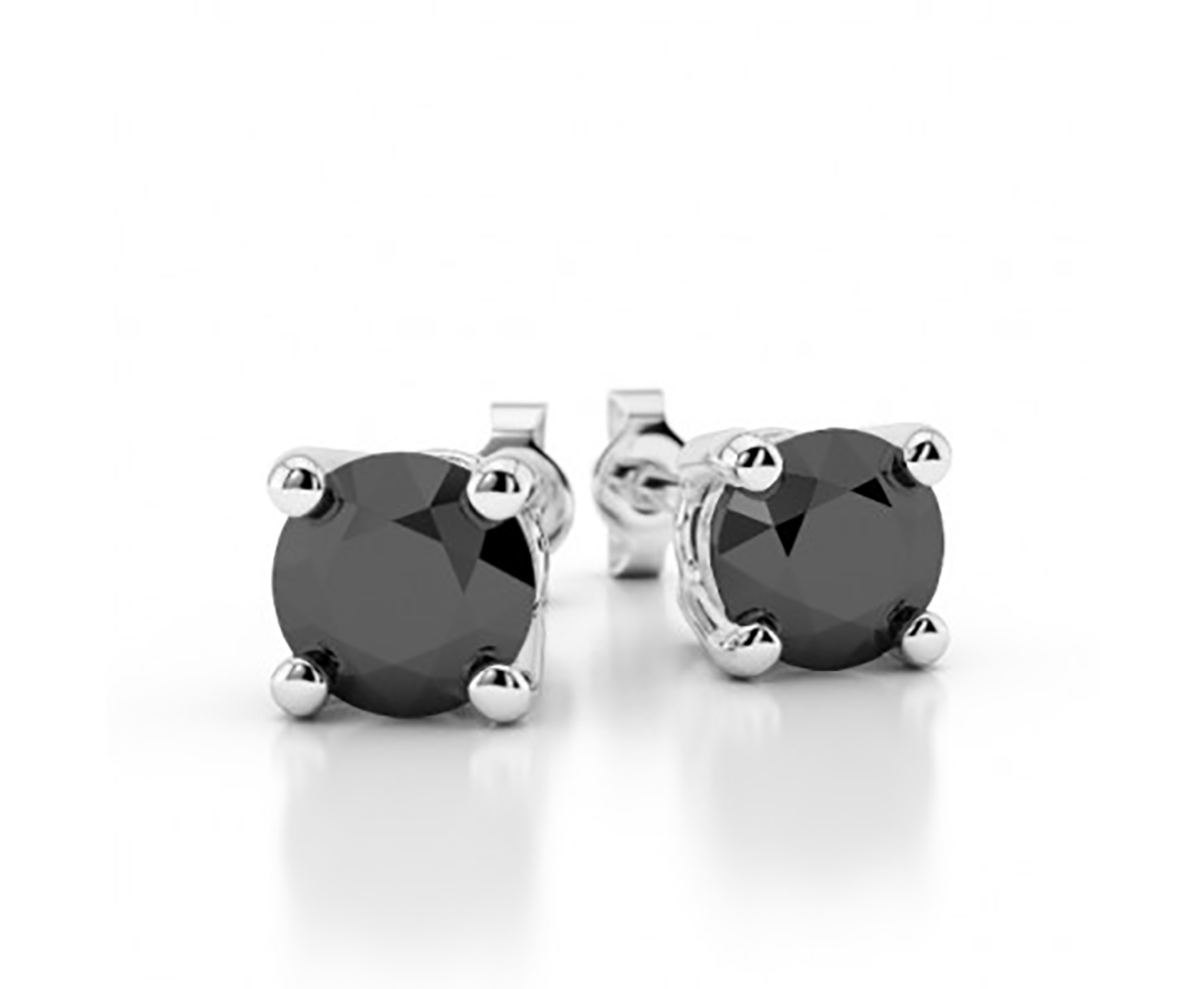 1/4 Ct Black Diamond Stud Earring 3MM Women and Mens Stud Earring 14K White Gold