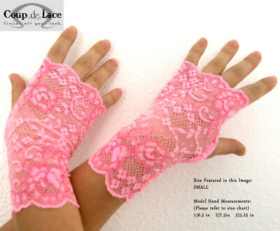 Pair of Fingerless Lace Gloves - Hot Pink (two-toned) - Pick your size](Pink Lace Gloves)