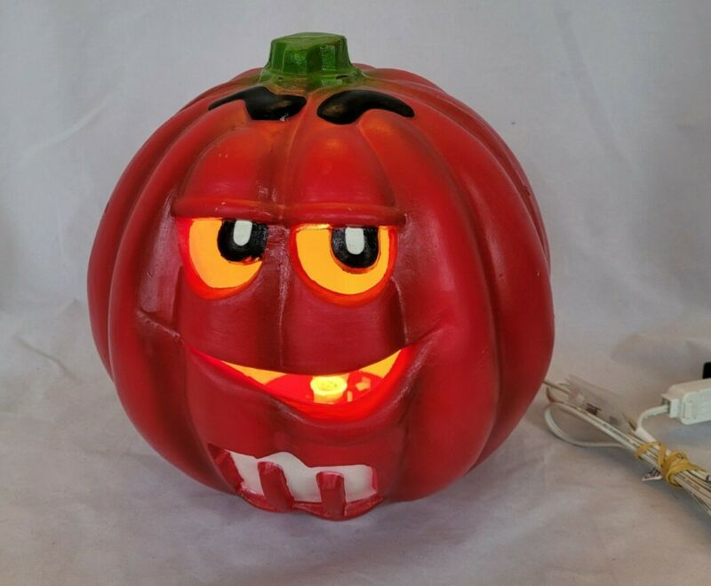 M And M Red Halloween Light Up Jack-O-Lantern Pumpkin 2001