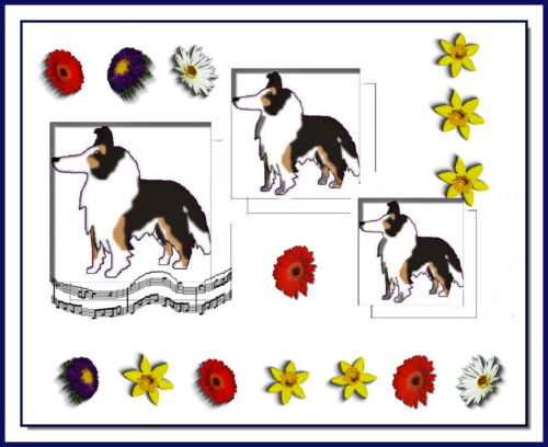 Rough Collie Collectible Flowers Music Dog Vintage Style Art 8x10 Signed Print