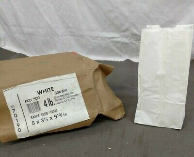 500 Sam's Craft White Paper Bags #4 LB Donut Food Lunch Grocery Case Commercial