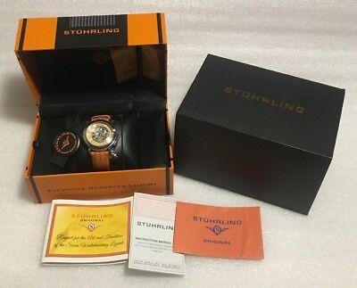 Stuhrling Original Ladies Watch Wall Street Automatic 35mm Fashion Orange New