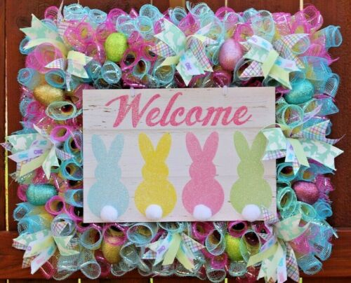 Easter Wreath ~ WELCOME Bunny Cotton Tails Spring & Easter Decor - Square Shape!