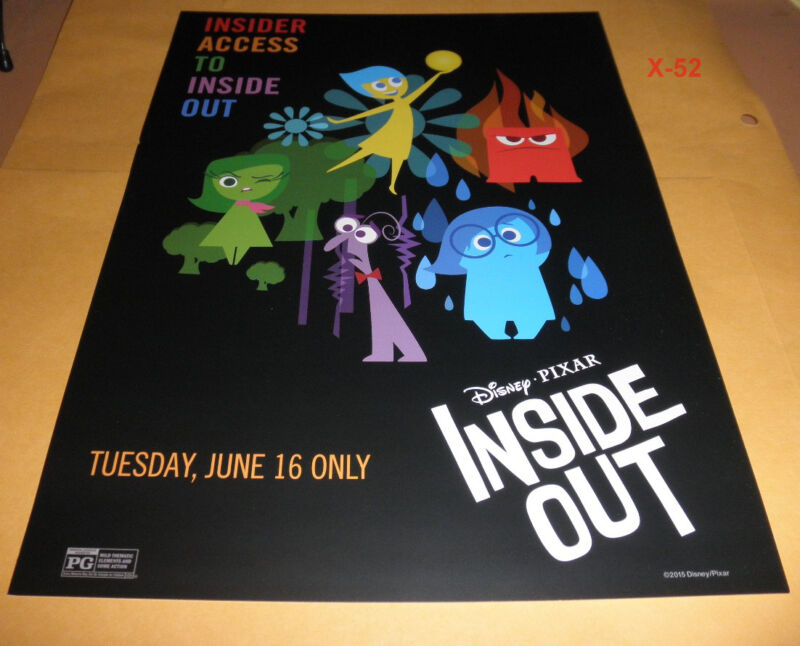"""INSIDE OUT One Night Movie Event MINI POSTER SHEET disney PIXAR (9.5x13"""")"""