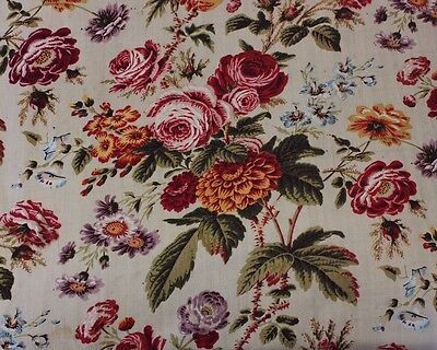 Very Rare Antique French Rose Floral Goat's Wool Yardage Fabric c.1840