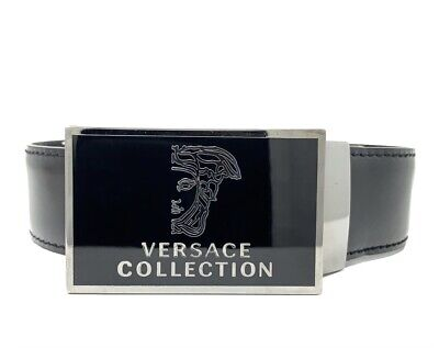 Versace Collection Half Medusa Plaque Buckle Leather Belt V910180 Sz 85/100