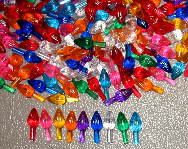 50 Med/Large Twist Lights Bulbs Peg for Ceramic Christmas Tree, W/9 Colors