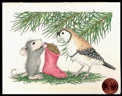 Christmas House Mouse Feeding Bird Seeds Tree Branches  Christmas Greeting Card