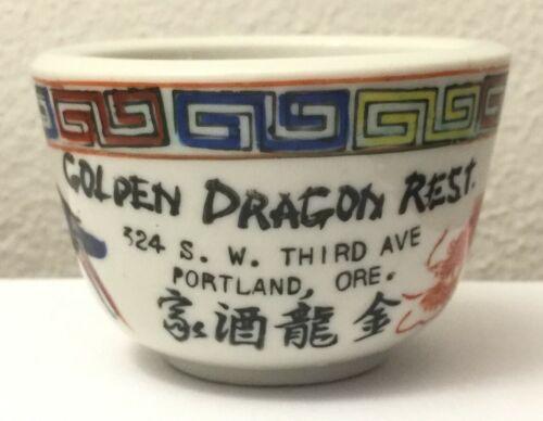 Golden Dragon Rest. Chinese Restaurant Tea Cup Portland Oregon Vintage