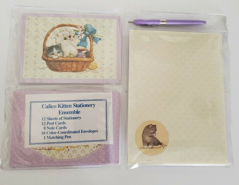 Vintage Olympicard Calico Kitten Stationary Ensemble,48 Pieces, Made in USA, New