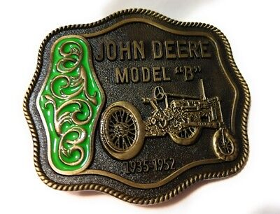 John Deere Model B Tractor Belt Buckle Antique Bronze / Green NEW for sale  Shipping to India