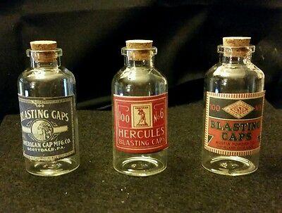 Vintage Style 3 Glass Blasting Cap Bottles Hercules, American, Austin..by Artist