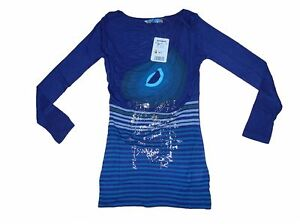 Ladies-DESIGUAL-Long-Sleeve-Top-T-Shirt-in-blue-Bnwt-Style-is-Munich