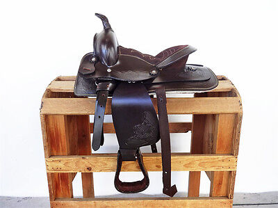 """10"""" CLASSIC BROWN WESTERN COWBOY LEATHER TRAIL HORSE PONY YOUTH SADDLE TACK"""