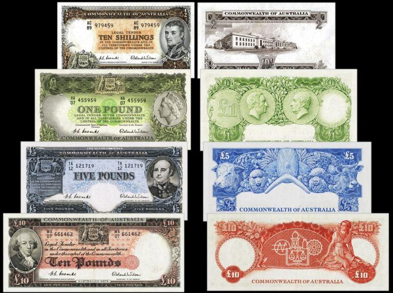 !COPY! 4 AUSTRALIA 1954-66 BANKNOTES: 1£ 5£ 10£ 10 SHILLINGS !NOT REAL!