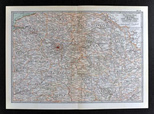1902 Century Atlas Map Central France Paris Chartres Le Havre Laon Tours Orleans