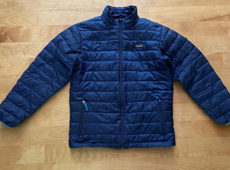 Patagonia Blue Down Puffer Sweater Jacket Boys Size XL 14 Full Zip Lightweight