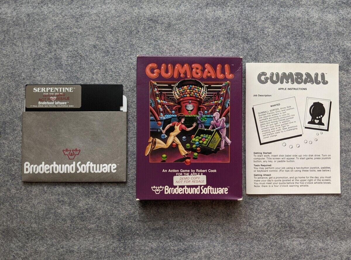 Computer Games - Gumball / Serpentine Demo Apple II IBM PC DOS Broderbund Software computer game