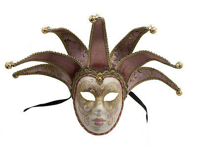 Mask Venice Volto Jolly Pink and Golden 7 Nails for Bal Masked 1420 VG2