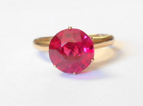 Gorgeous Vintage 2 CT Ruby Solitaire 14K Yellow Gold Ladies Ring Size 6