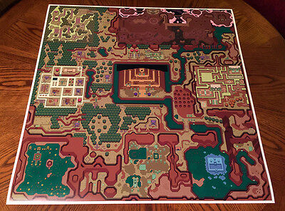 Legend of Zelda A Link to the Past DarkWorld Hyrule map game poster (Dark World A Link To The Past)