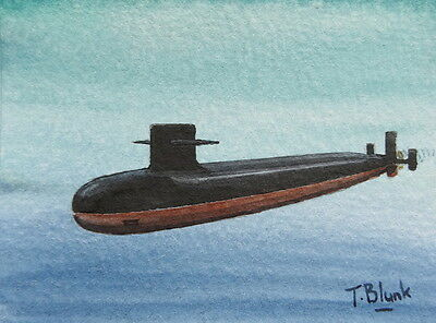 "ORIGINAL AQUARELL - U-Boot U.S.S. ""Alabama""."