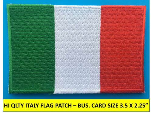 "ITALY ITALIAN FLAG PATCH IRON-ON SEW-ON EMBROIDERED APPLIQUE(3½ x 2¼"")- HI QLTY!"