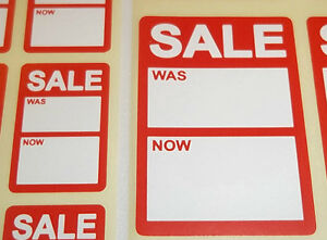 Bright-Red-Reduced-Sale-Was-Now-Price-Point-Stickers-Swing-Tag-Sticky-Labels