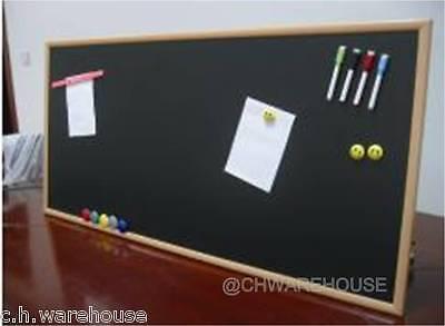 "24"" x 48"" Magnetic Black Chalk Board Light Tone Wood Frame & Reinforced Backing"