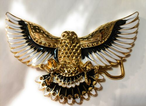 ✖ WESTERN Steer Eagle Gold White Color Beauty Cowboy Rodeo Style Belt Buckle USA