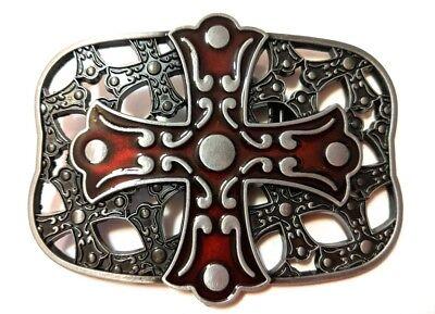 *` NEW DESIGN CROSS AND SHIELD ` Full Metal BELT BUCKLE Christian **US seller Cross Shield Belt Buckle
